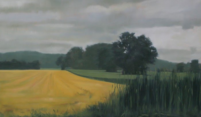 painting of a tree lined farm field after harvest