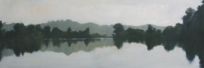 painting of lake shore and trees reflecting in the water
