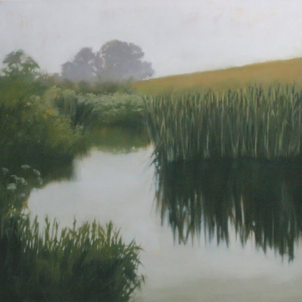 landscape painting of a creek cutting through farm fields with plants and trees reflecting in the water