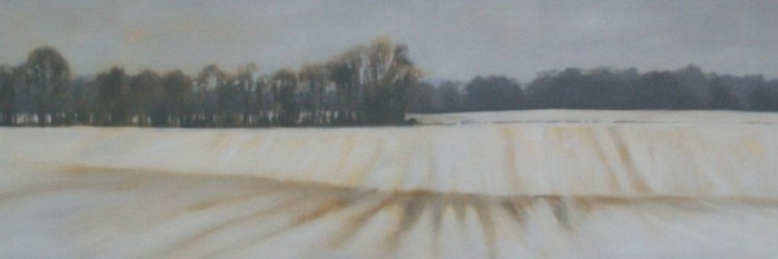 landscape painting of snow covered farm fields lined with trees