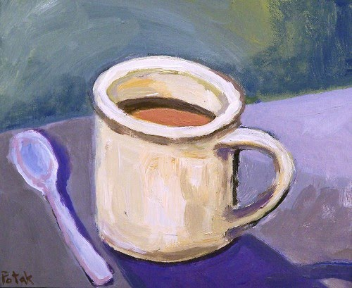 expressionist painting of a cup of coffee with spoon