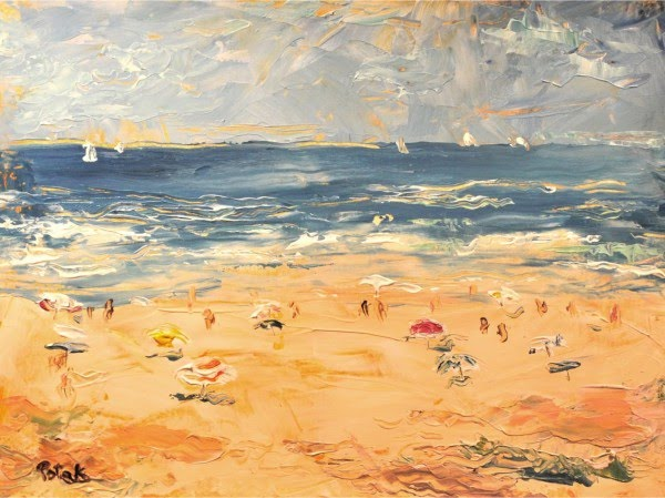 expressionist painting of beach