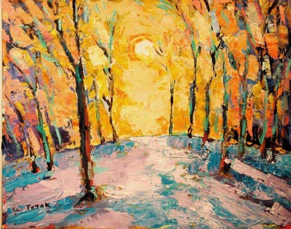 expressionist painting of the sun shinning through a forrest