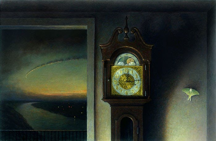 photo realistic painting of grandfather clock and open door