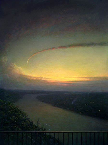 beautiful landscape painting of circling clouds over river