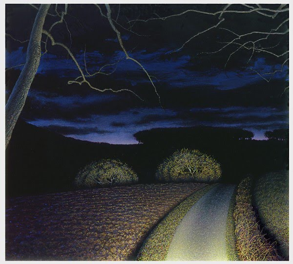 realistic painting driving down a road at night in a car with headlights on