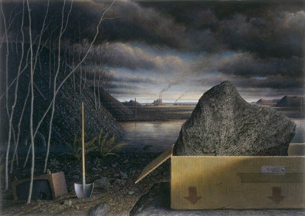 contemporary realism painting of excavation