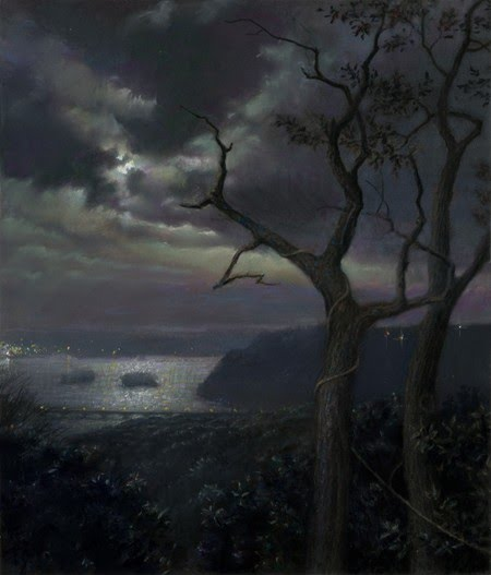 painting of a harbor with a cloudy moonlit night
