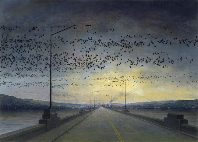 painting of flock of birds flying over highway