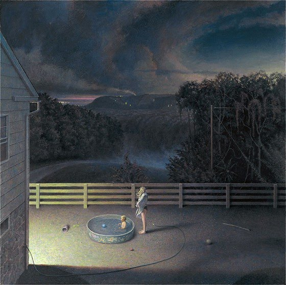 contemporary realism painting of circling clouds over house
