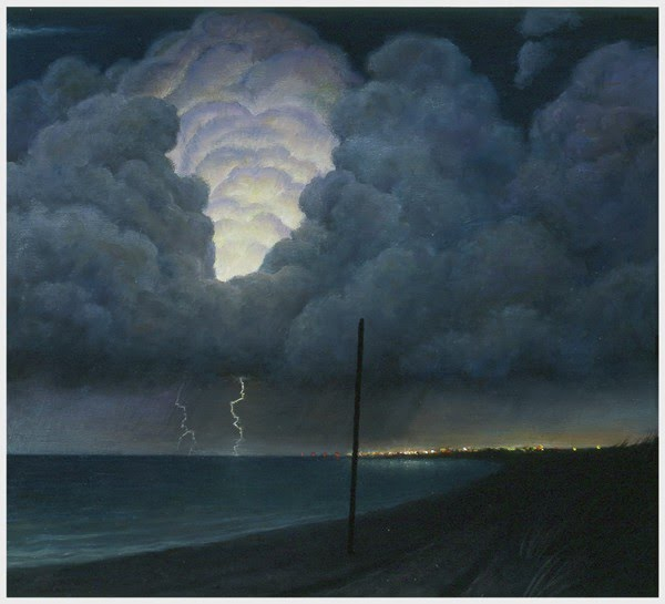 realistic painting of lightning storm