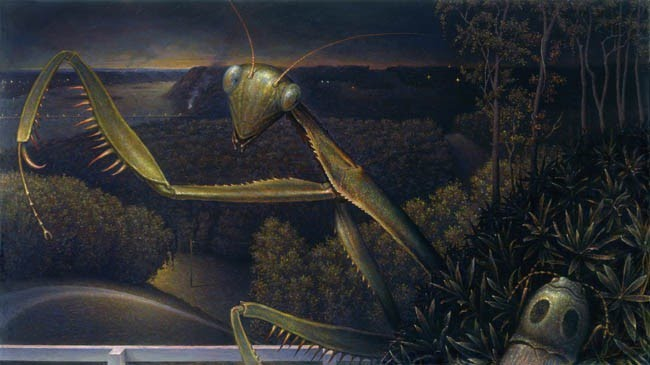 realistic painting of a praying mantis in the foreground of a landscape painting