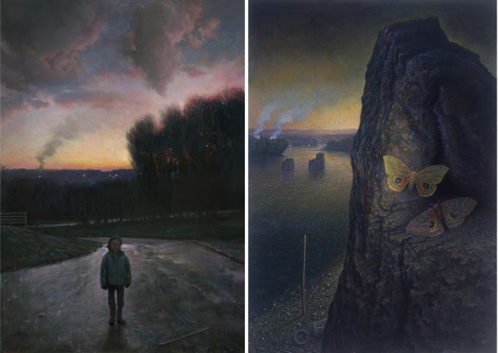 contemporary realism paintings of a boy walking on a road, and a butterfly