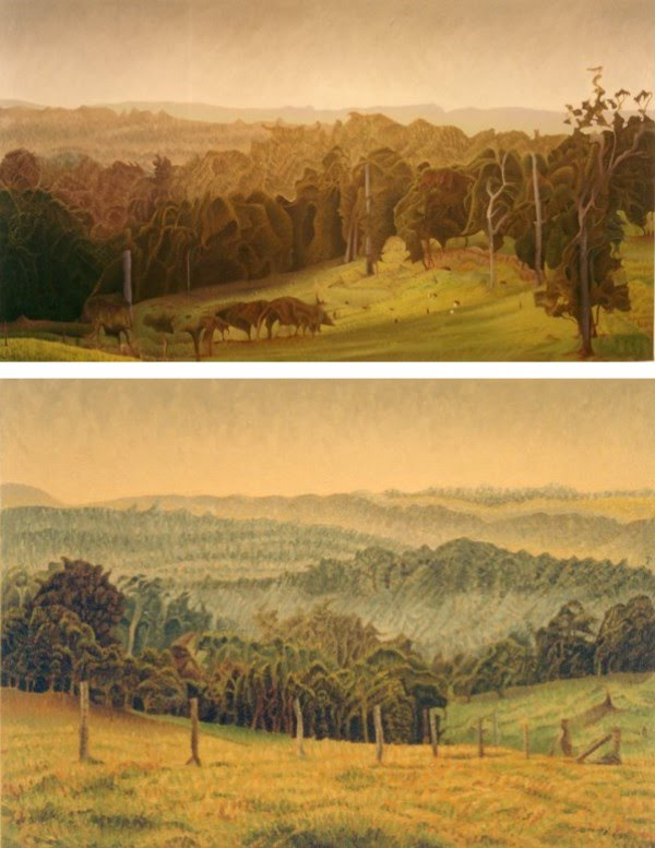 2 amazing landscape paintings by artist godfrey blow