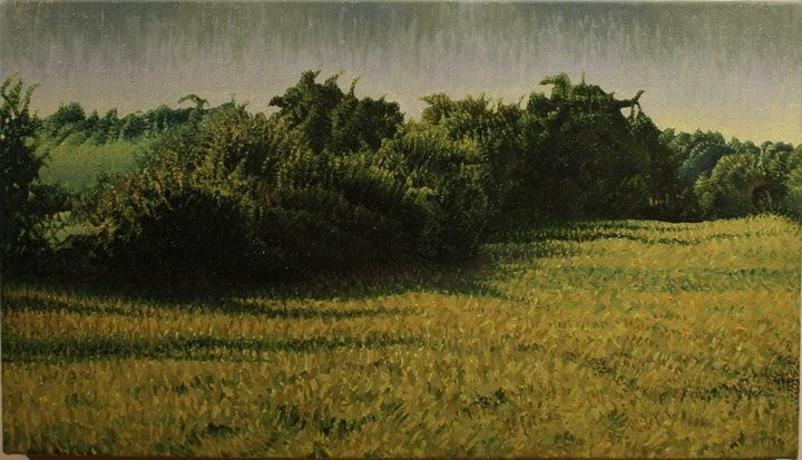 ethereal landscape painting of fields and trees