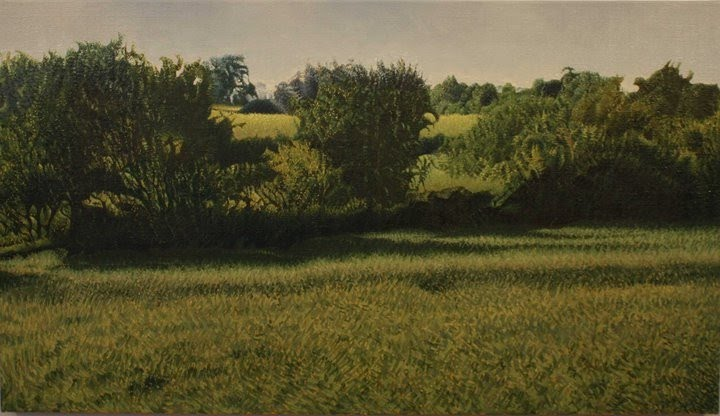 painting of green fields and trees