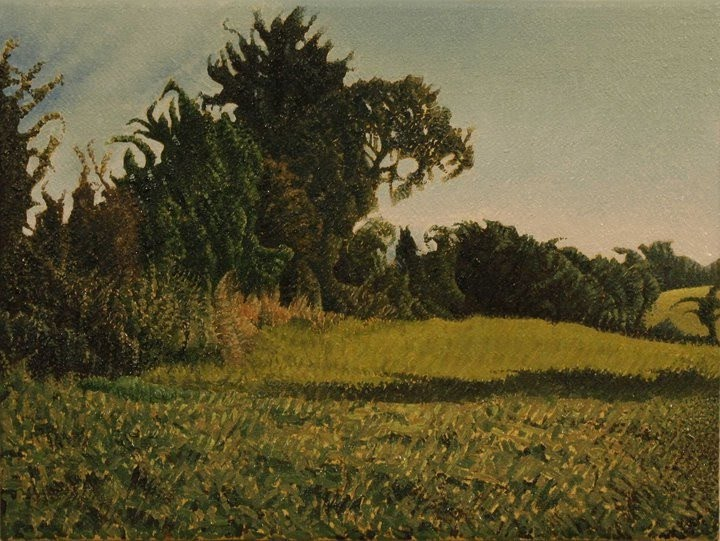 landscape painting of trees and grassy fields
