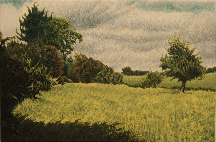 great painting of open fields and trees
