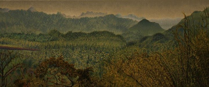 painting of distant trees and mountains