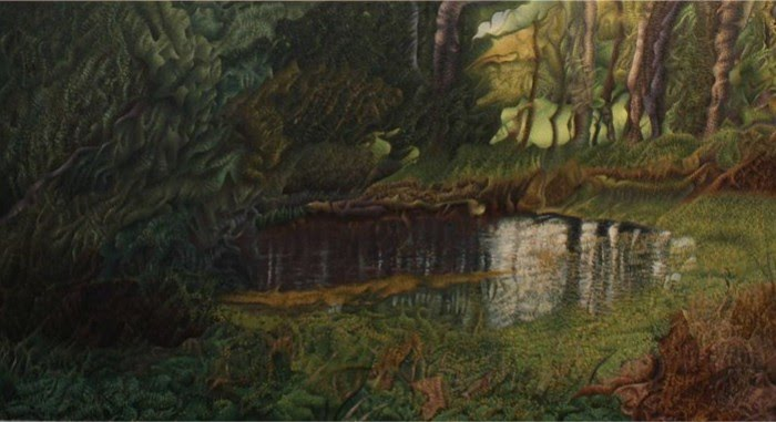 painting of a forrest pond