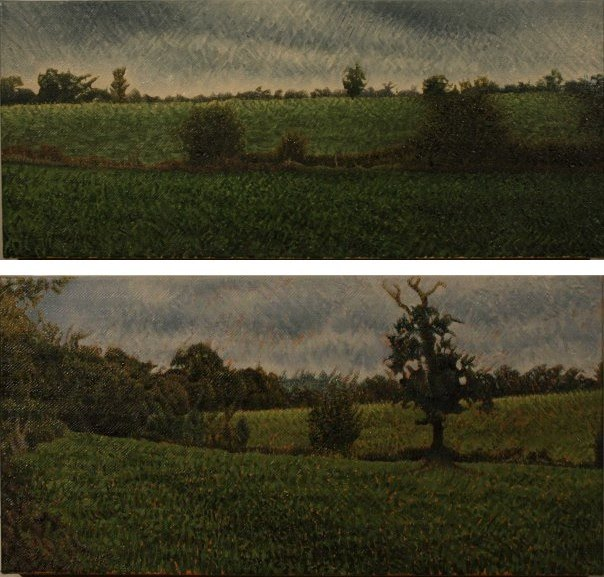 2 paintings of trees and fields