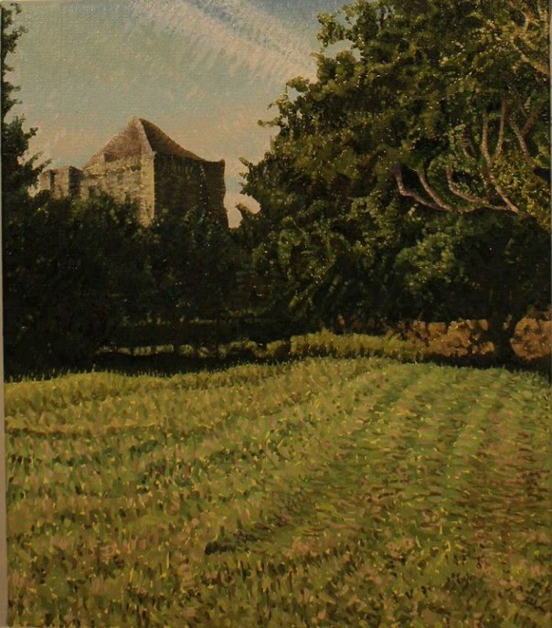 painting of green fields and trees with a castle tower in the distance