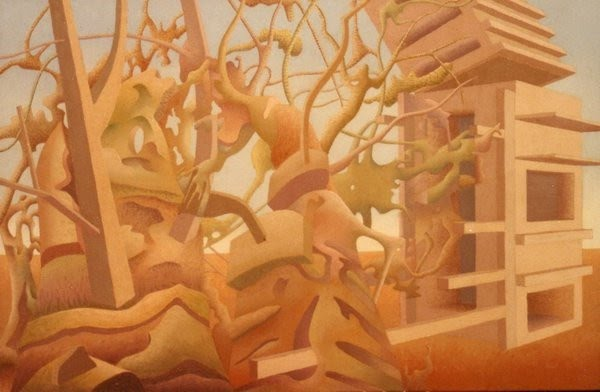 architectural surrealist painting by godfrey blow