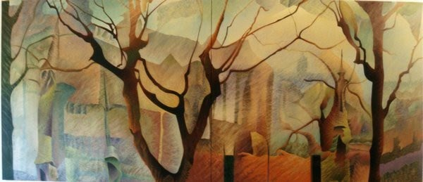 surrealist tree painting by godfrey blow