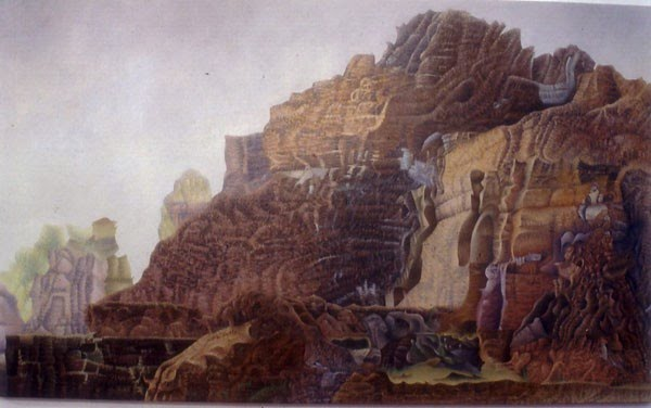 surreal painting of a rocky hillside by godfrey blow