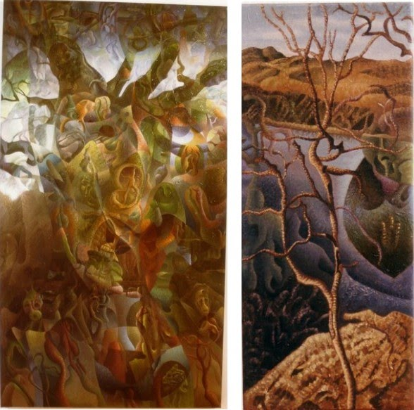 surreal painting of trees and landscapes by godfrey blow