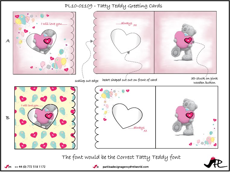 Tatty teddy greeting card designs for carte blanche park lea tatty teddy greeting card designs for carte blanche m4hsunfo