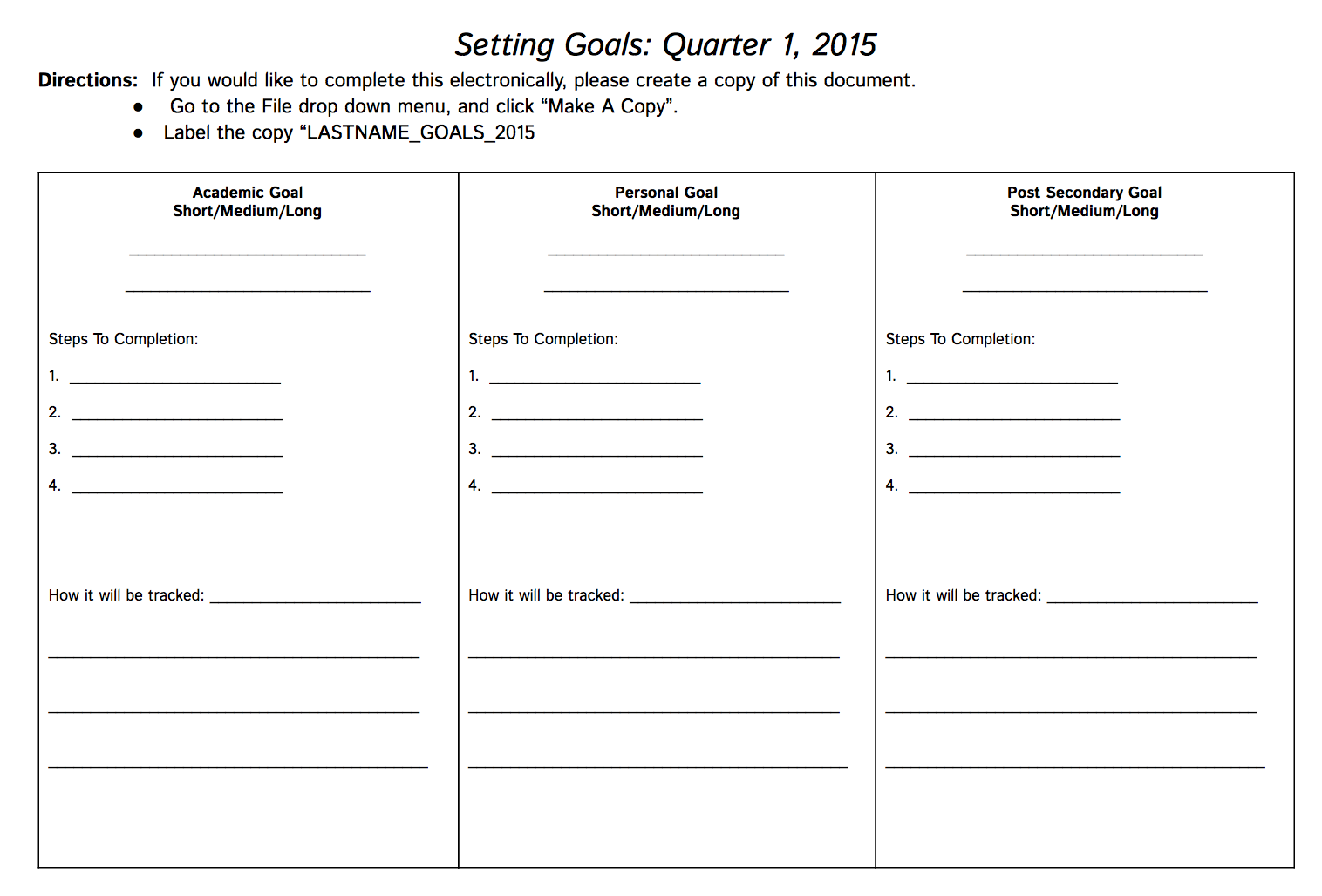 Goal setting worksheet us101