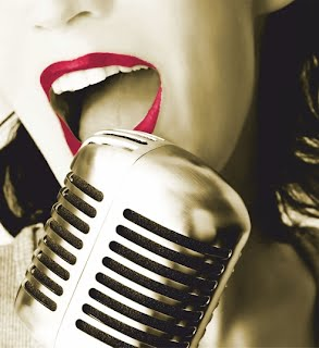 Woman with old-fashioned microphone - the Other Voices PBH logo