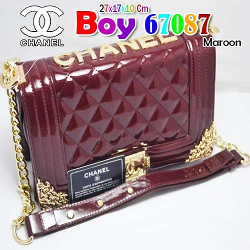 Tas Chanel Boy 67087 Maroon