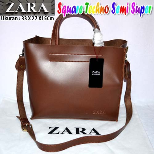 Tas Zara Square Techno Semi Super Coklat