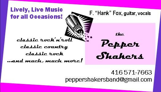 your band for hire in Toronto is the Pepper Shakers