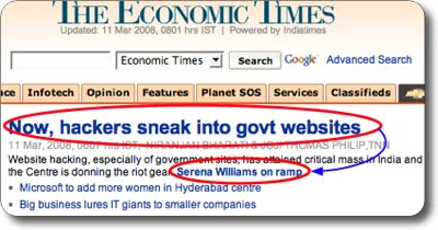Hackers, Serena Williams, govt websites and econimic times stupidity