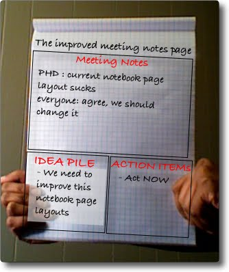 typical office note pad page layout