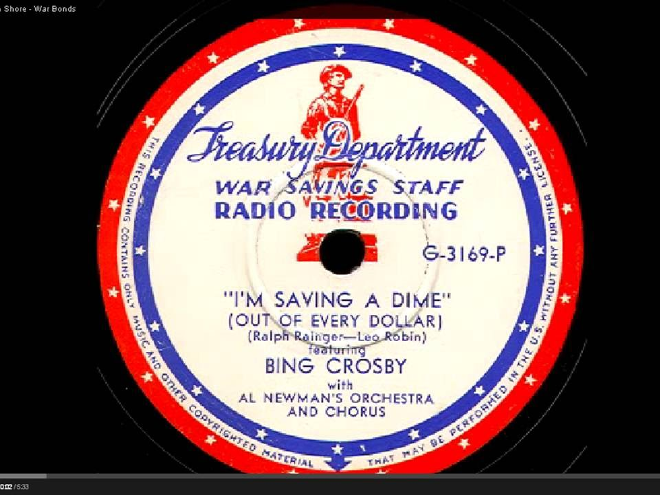 Bing Crosby war Bonds US treasury office WW2 CENSORED BY YOU TUBE
