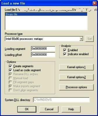 IDA Pro free, loading a binary file