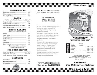 Pizza Jim's Menu Page 1