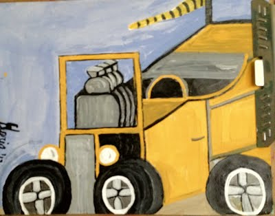 """Tiger jalopy cartoon"" by Gloria Poole"