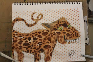 Cartoon leopard made by Gloria Poole,RN,artist of /in Missouri on 1 June 2015
