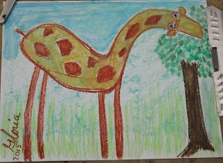 Cartoon giraffe drawn on 25th Oct 2015 by me Gloria Poole,Registered Nurse, artist of/in Missouri