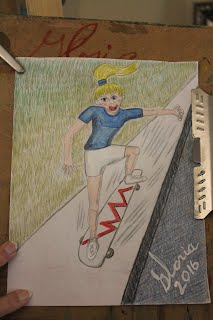 Cartoon skateboarding created today 5 Feb 2016 by me Gloria Poole,RN,artist of/in Missouri