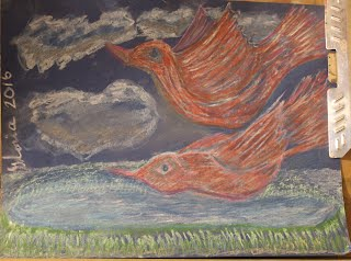 Red birds flying north sketch drawn by me Gloria Poole, RN, artist of/in Missouri, USA