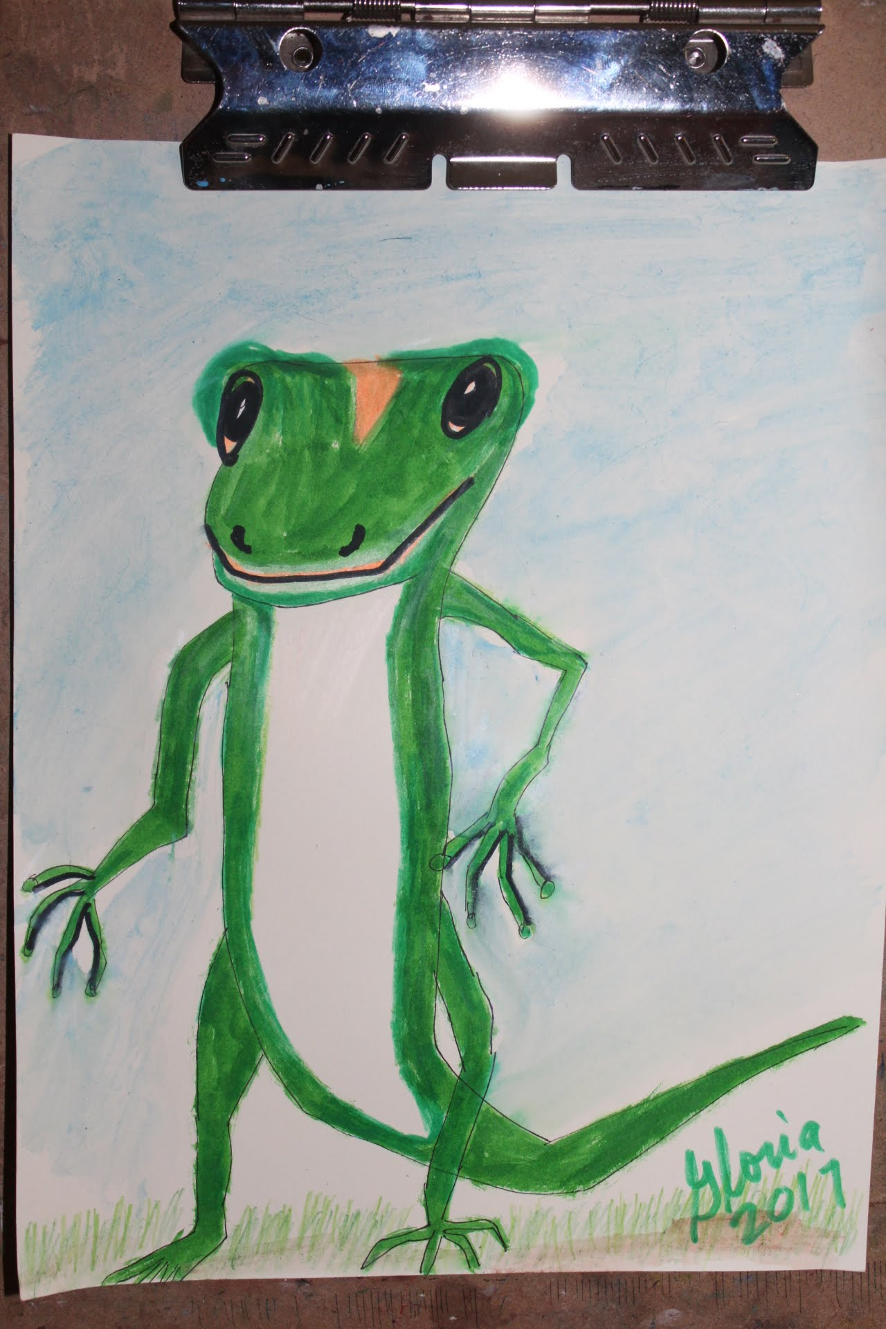 Upright tree frog lizard drawn on 10th August 2017  by Gloria Poole / gloriapoole Registered Nurse, artist, of/in Missouri