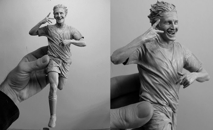 sculpture man running