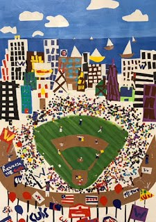 Ms. Stefan's 3rd grade class created a painting of Wrigley Field