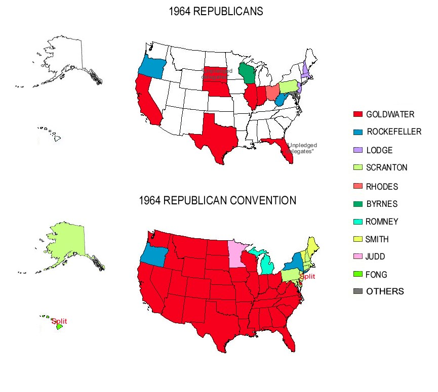 How Many Delegates Per State Map.Presidential Primaries And Convention Republicans 1964